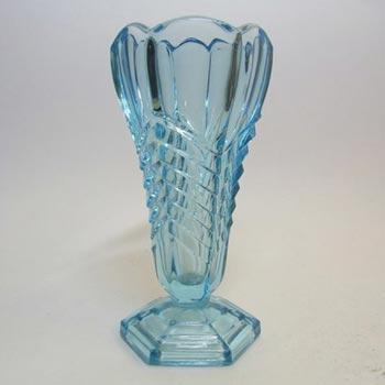 Davidson Art Deco 1930's Blue Glass 'Chevron' Vase 295