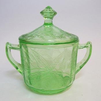 Jeannette Poinsettia Floral Green Depression Glass Bowl