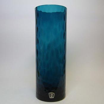 JC 1970's Scandinavian Blue Glass Cylindrical Vase
