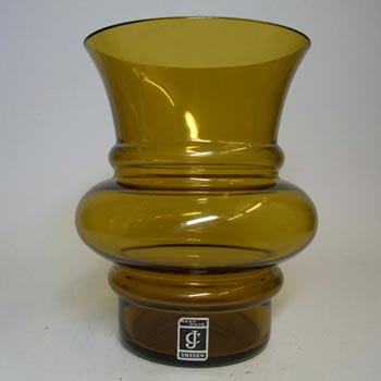 JC 1970's Scandinavian Amber Glass Hooped Vase