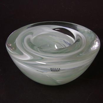 Kosta Boda White Glass Atoll Candle Holder/Bowl - Label