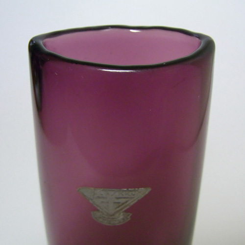 Gullaskruf Swedish Purple Cased Glass Vase - Labelled - Click Image to Close