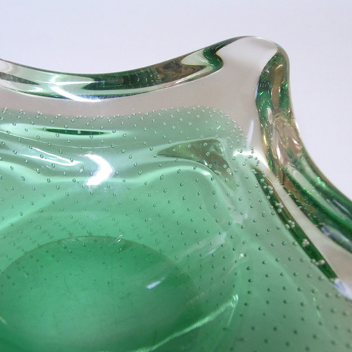 Harrachov/Mstisov? Czech 1950's Green Glass Bubble Bowl - Click Image to Close