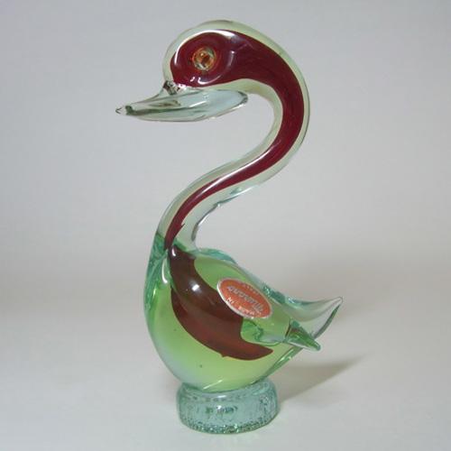 Murano Sommerso Red Green Uranium Glass, Murano Glass Swan