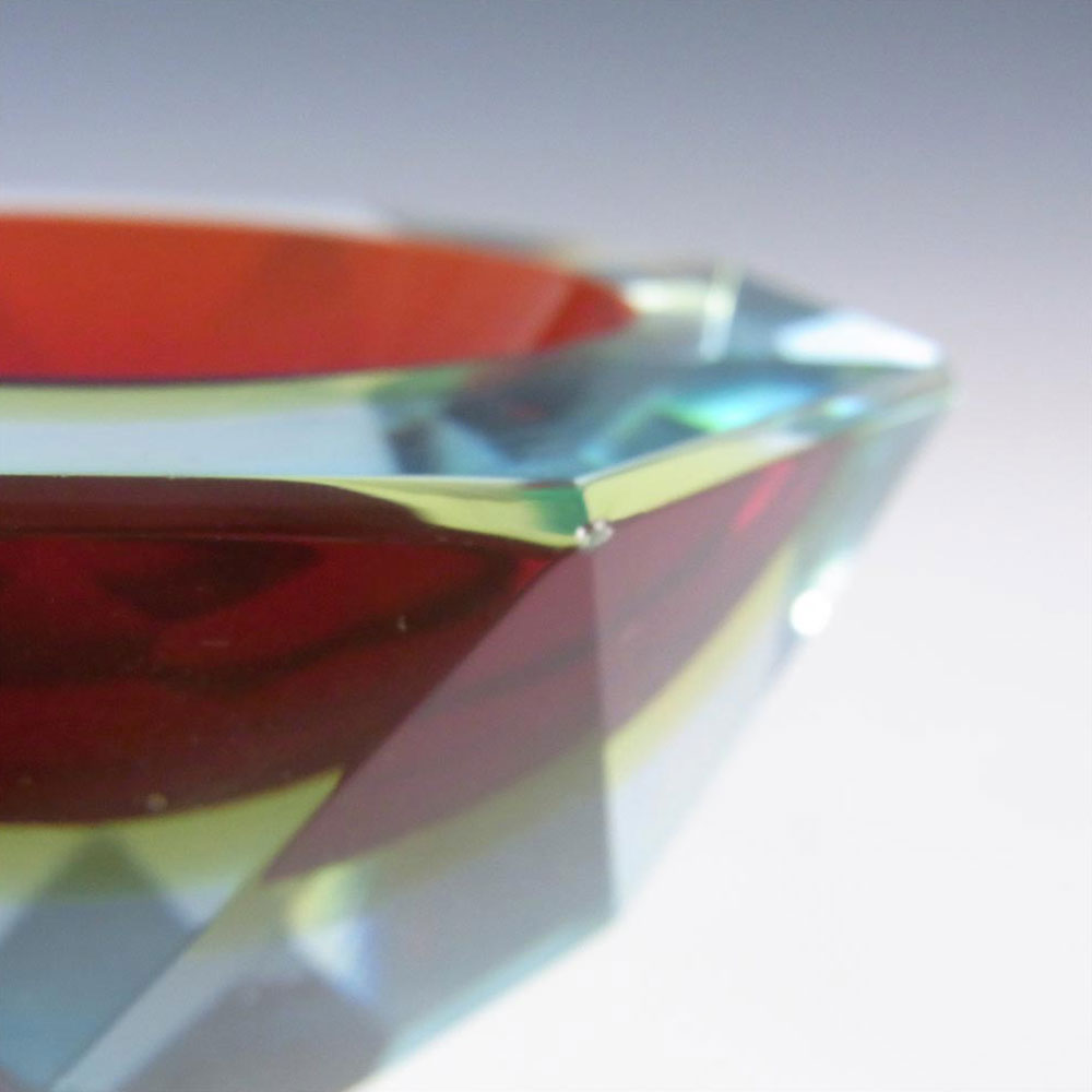 Murano Faceted Red & Amber Sommerso Glass Block Bowl - Click Image to Close