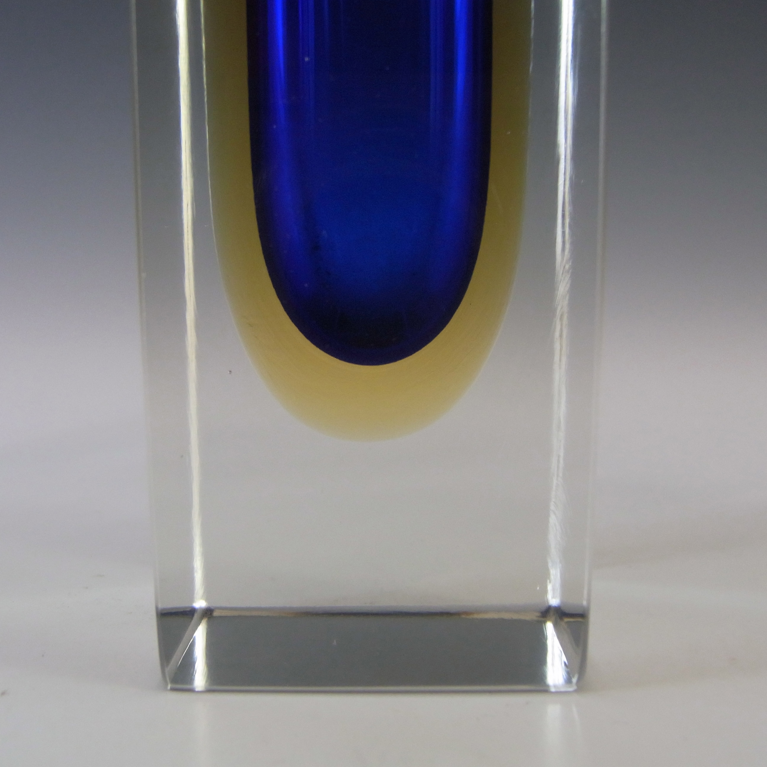 Murano Faceted Blue & Amber Sommerso Glass Block Vase #1 - Click Image to Close