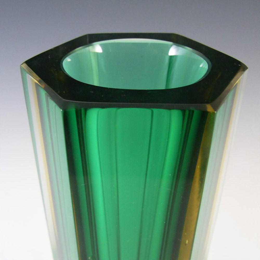 Murano Faceted Green & Amber Sommerso Glass Block Vase - Click Image to Close