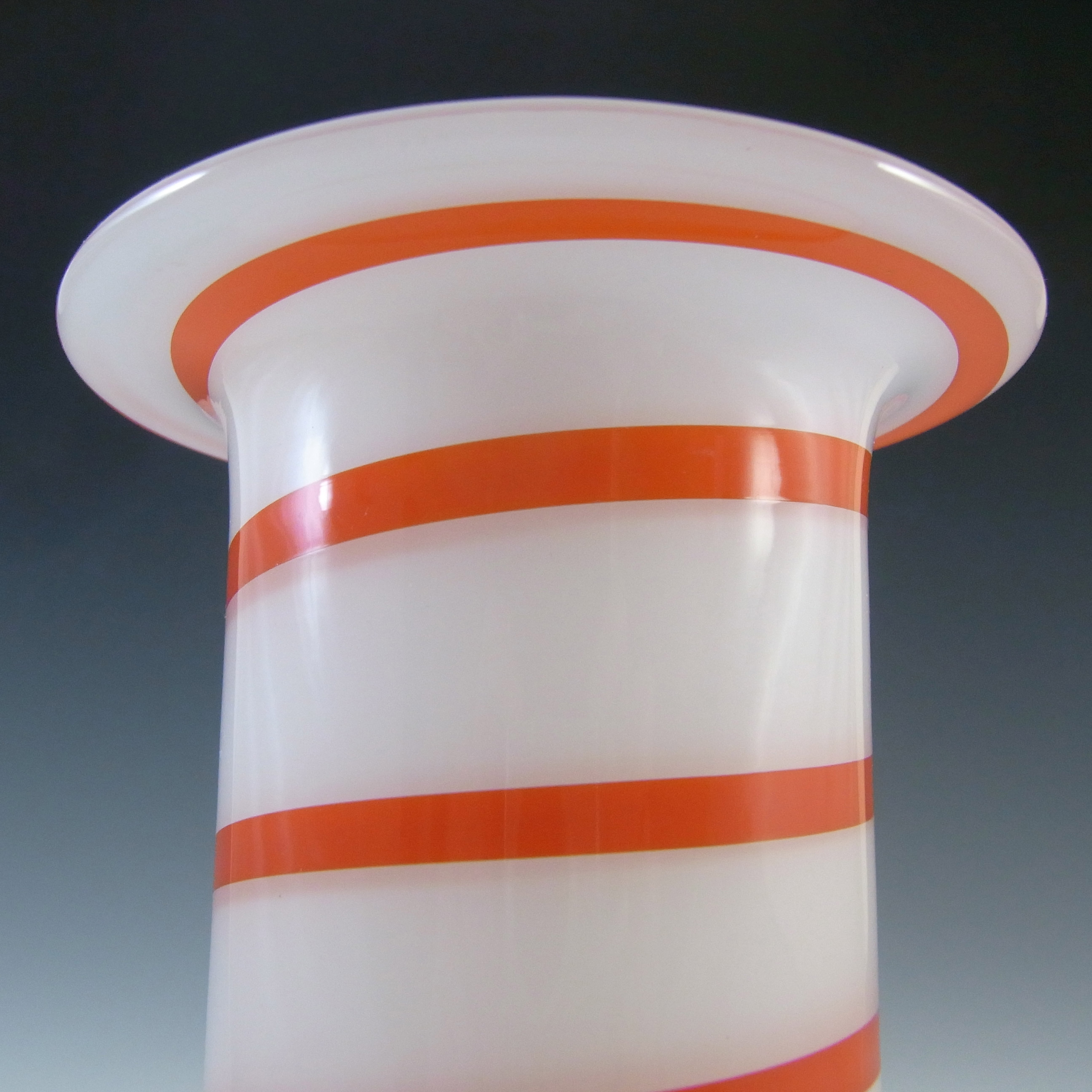 SIGNED Alsterfors/Per Strom White & Red Striped Glass Vase - Click Image to Close