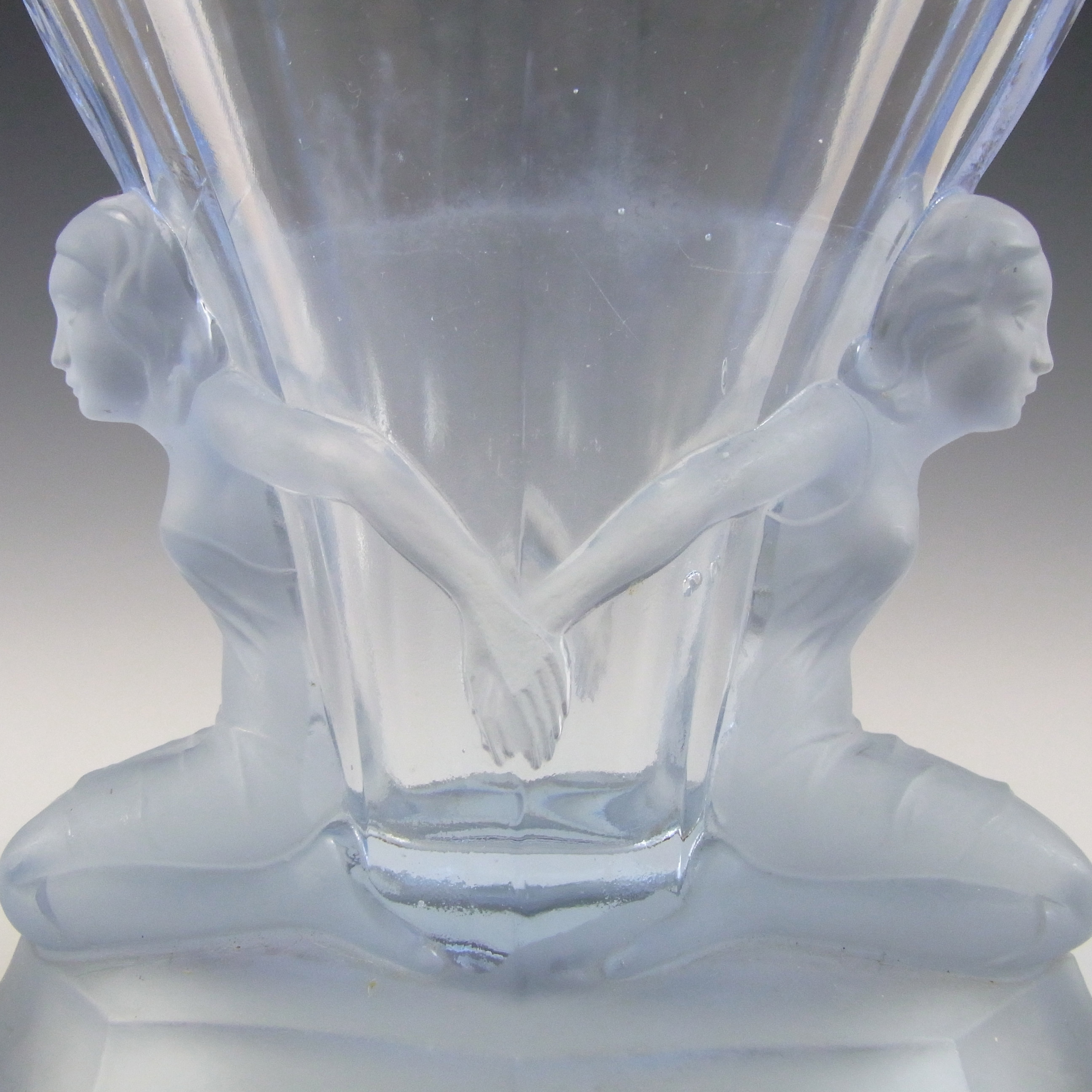Walther & Sohne 1930's Art Deco Blue Glass 'Windsor' Vase - Click Image to Close