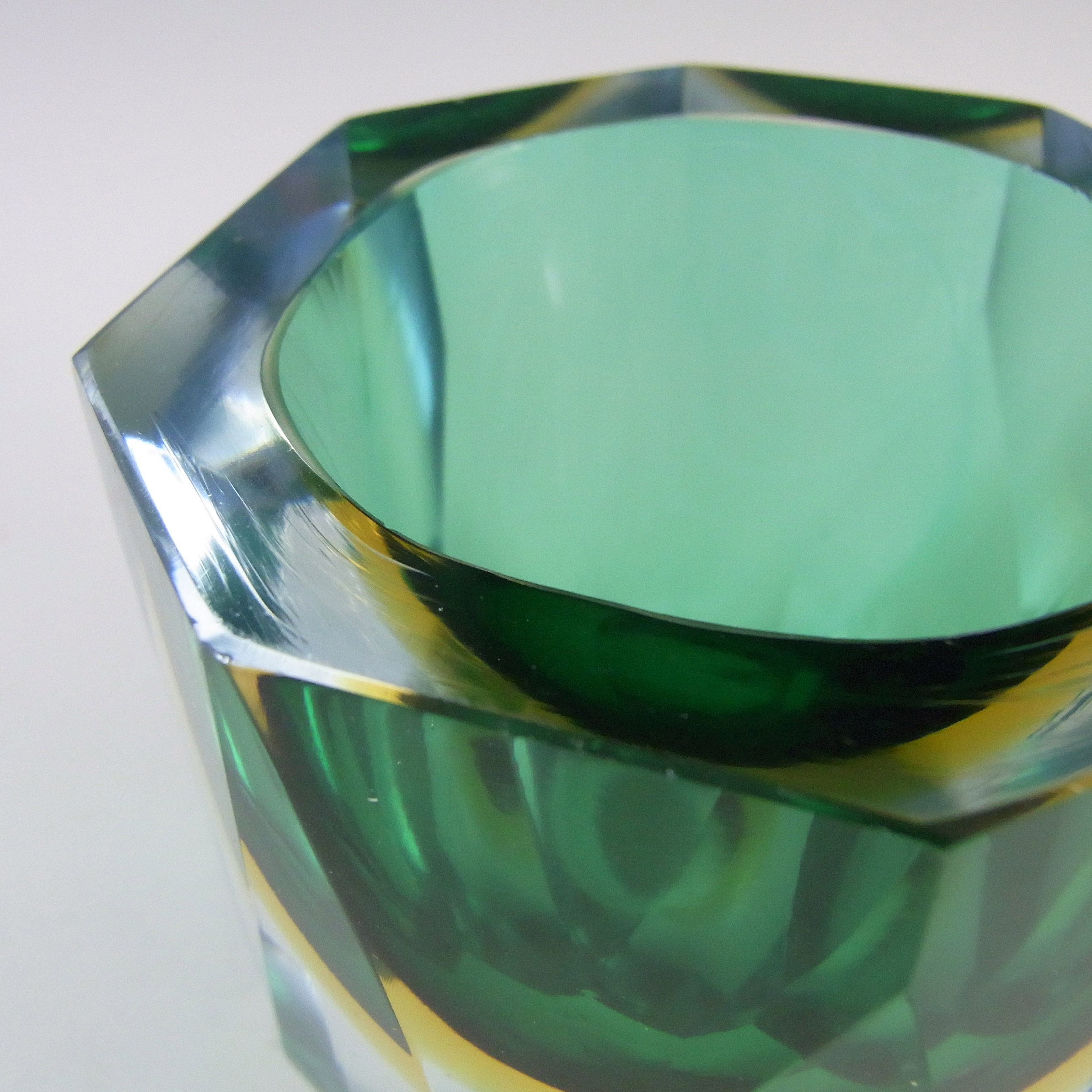 Murano Faceted Green, Amber & Blue Sommerso Glass Block Vase - Click Image to Close