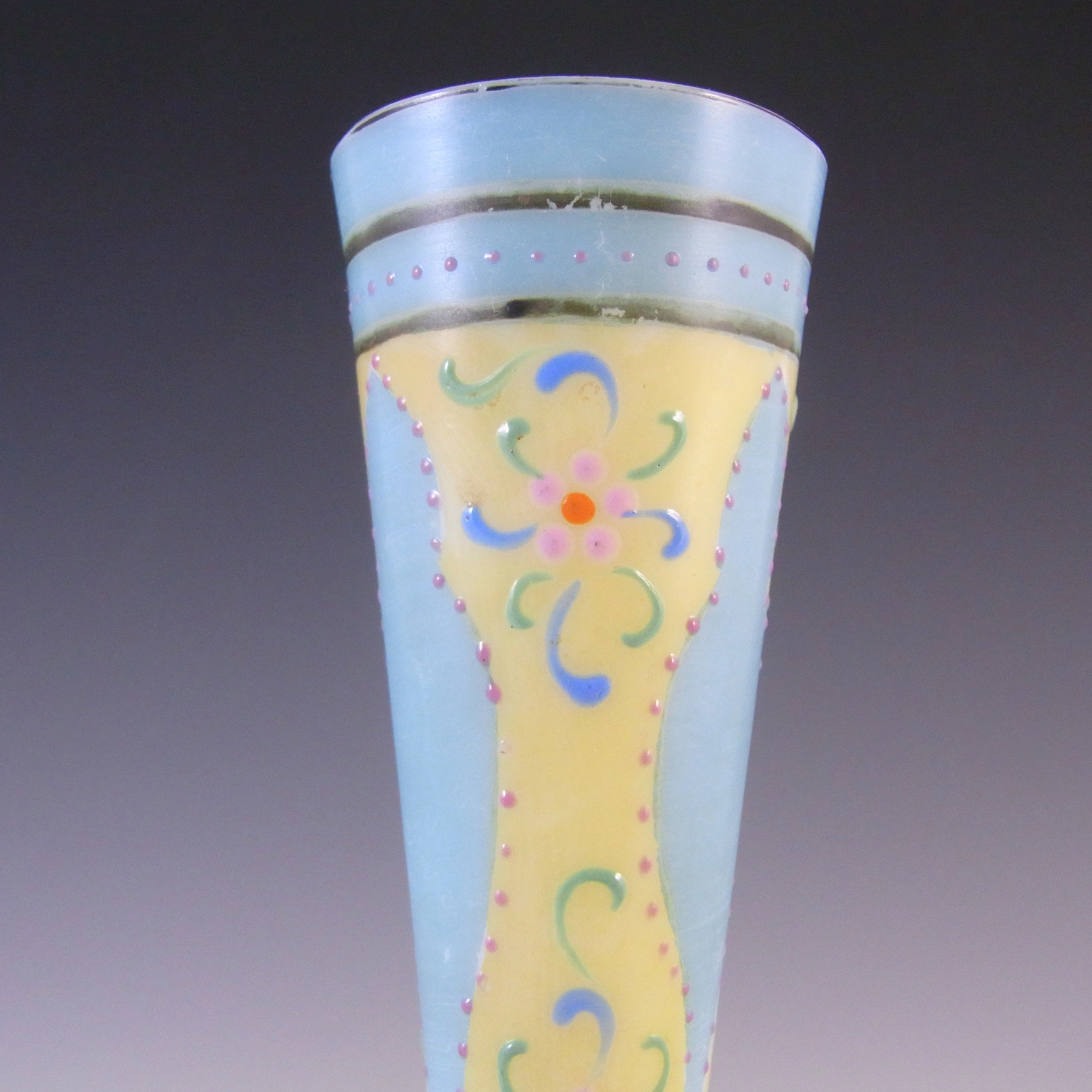 Victorian Hand Painted/Enamelled Opaque Glass Vase - Click Image to Close