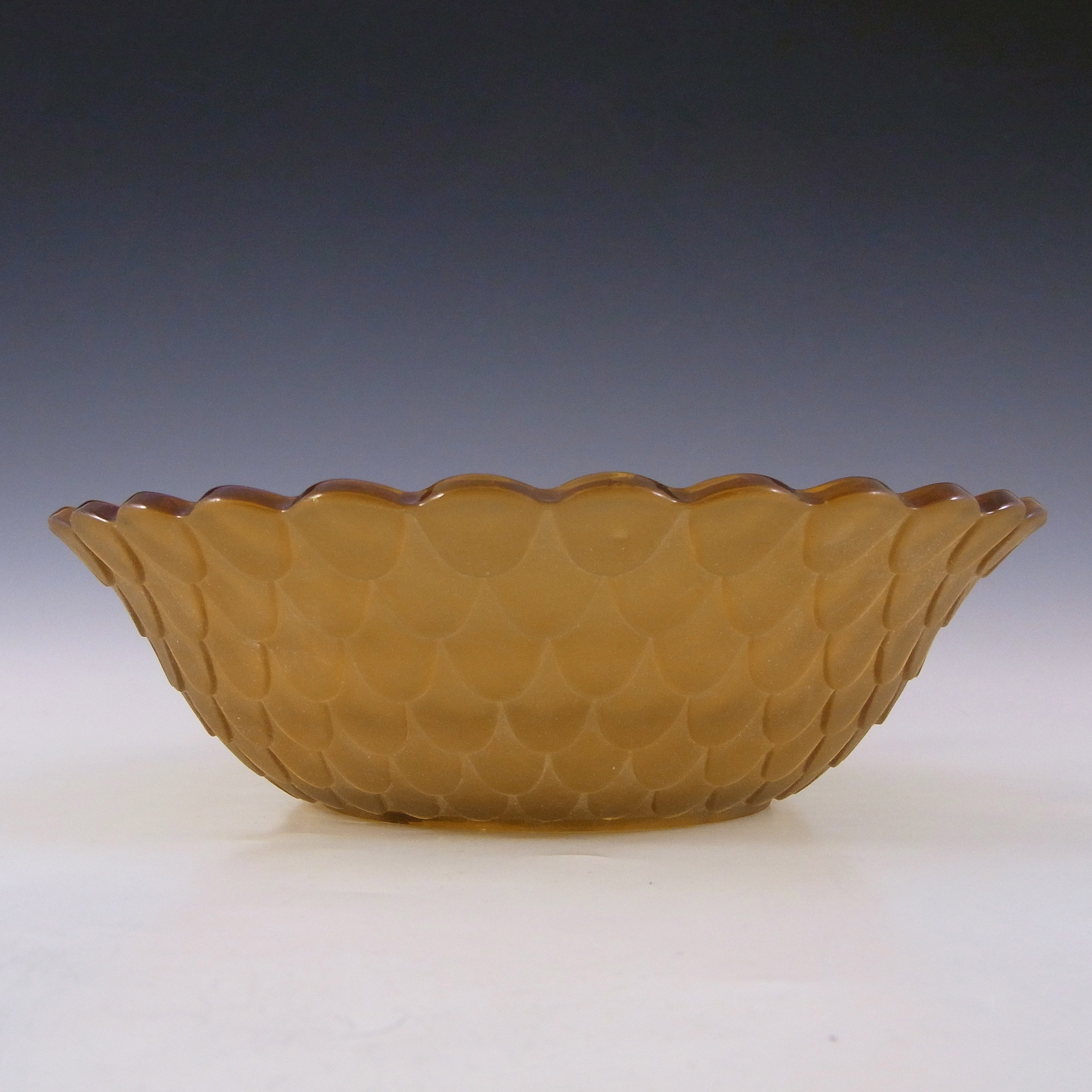 Bagley Art Deco Frosted Amber Glass 'Fish Scales' Bowl #3067 - Click Image to Close