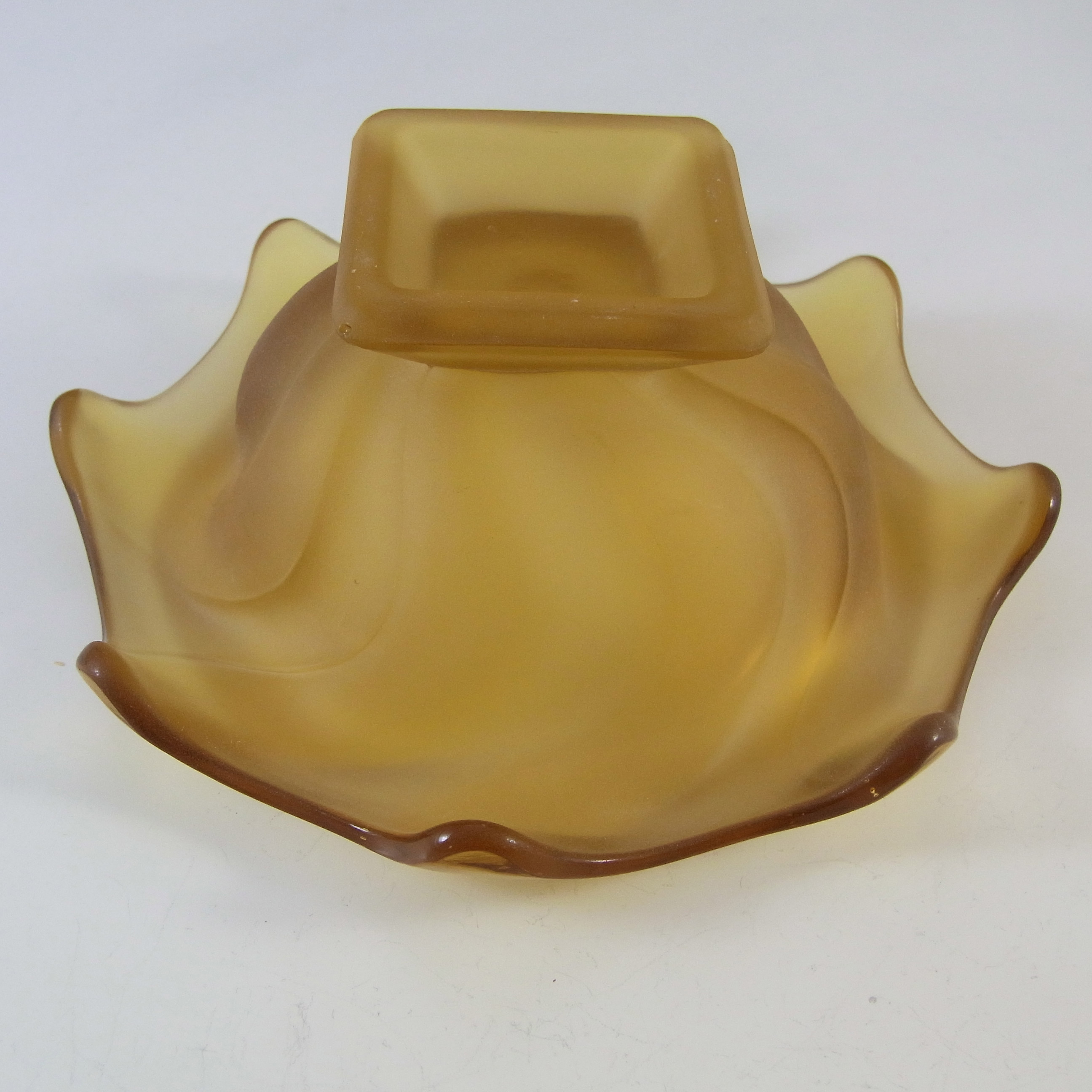 Bagley #3061 Art Deco Frosted Amber Glass 'Equinox' Posy Bowl - Click Image to Close