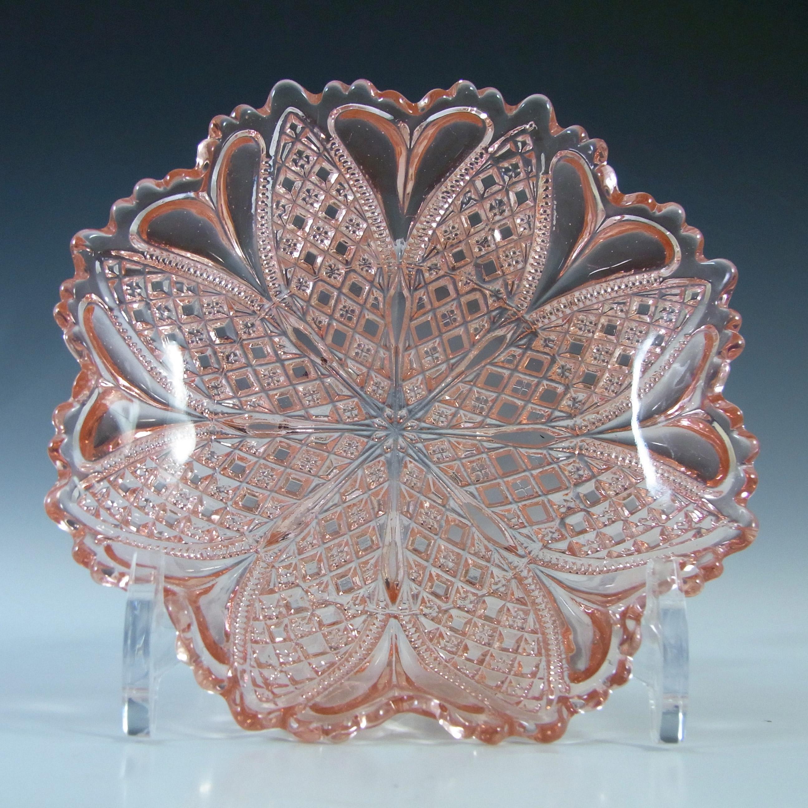 Davidson Victorian Pink Pressed Glass 'William & Mary' Bowl