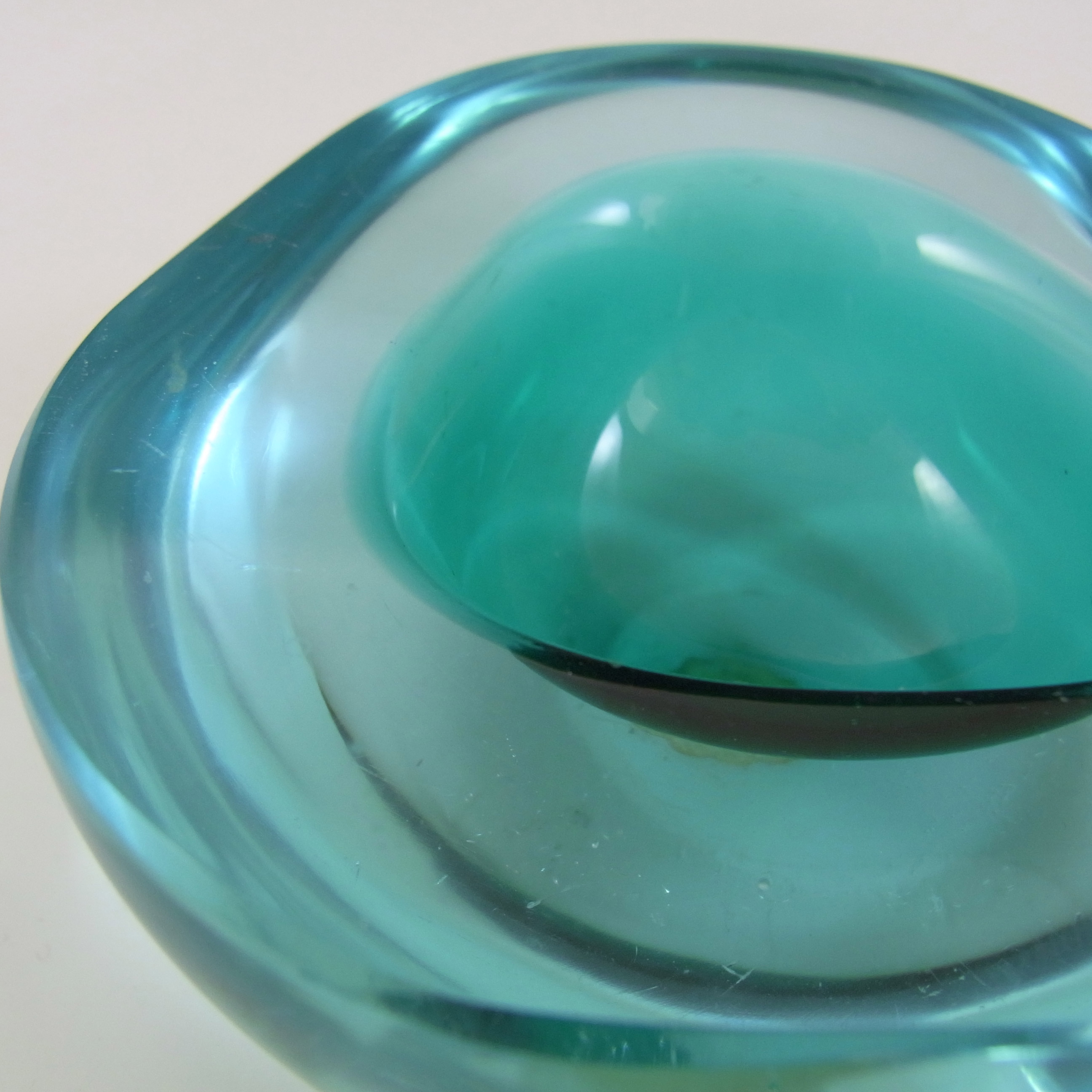 LABELLED Archimede Seguso Murano Blue Glass Geode Bowl - Click Image to Close
