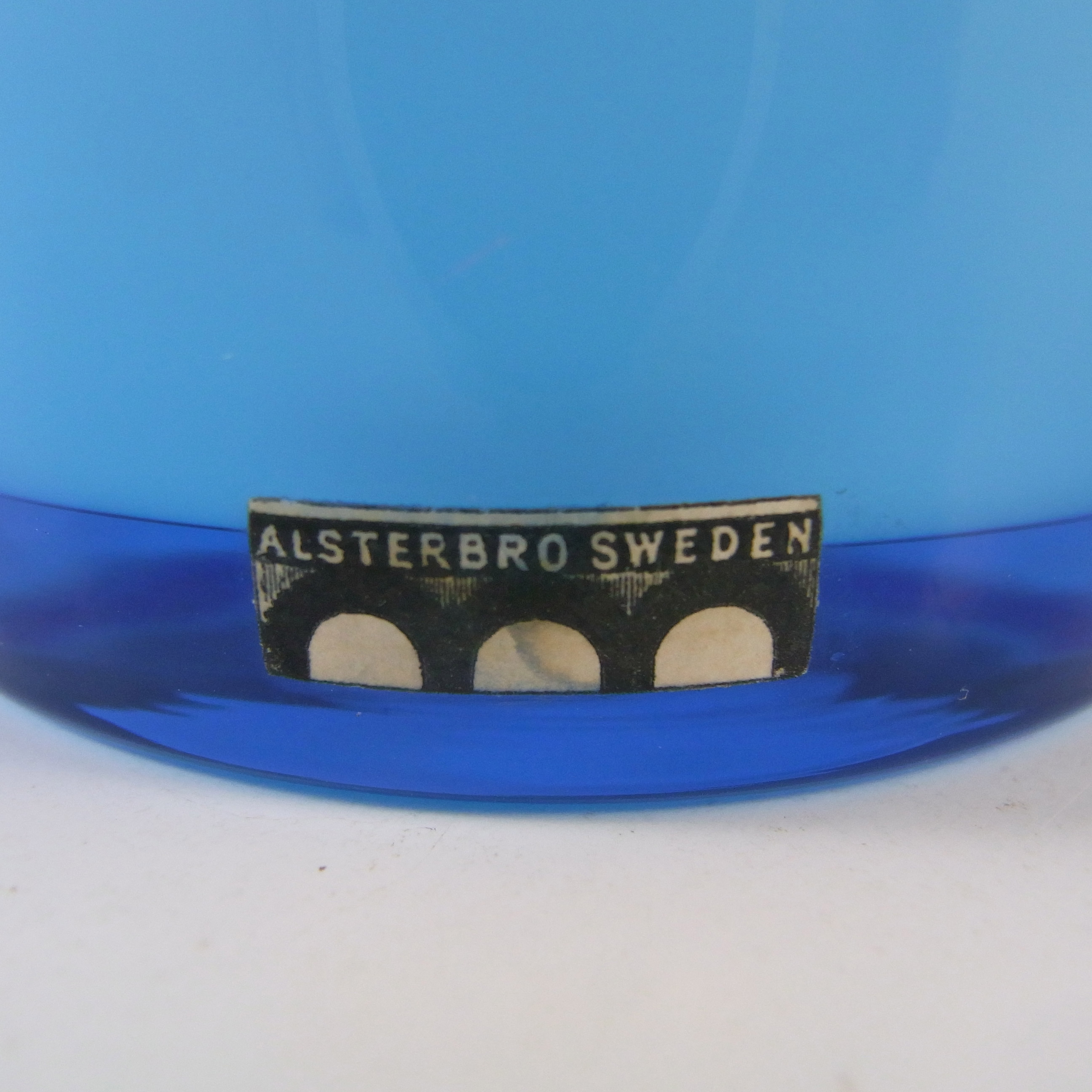 LABELLED Alsterbro Swedish Blue Cased Hooped Glass Vase - Click Image to Close