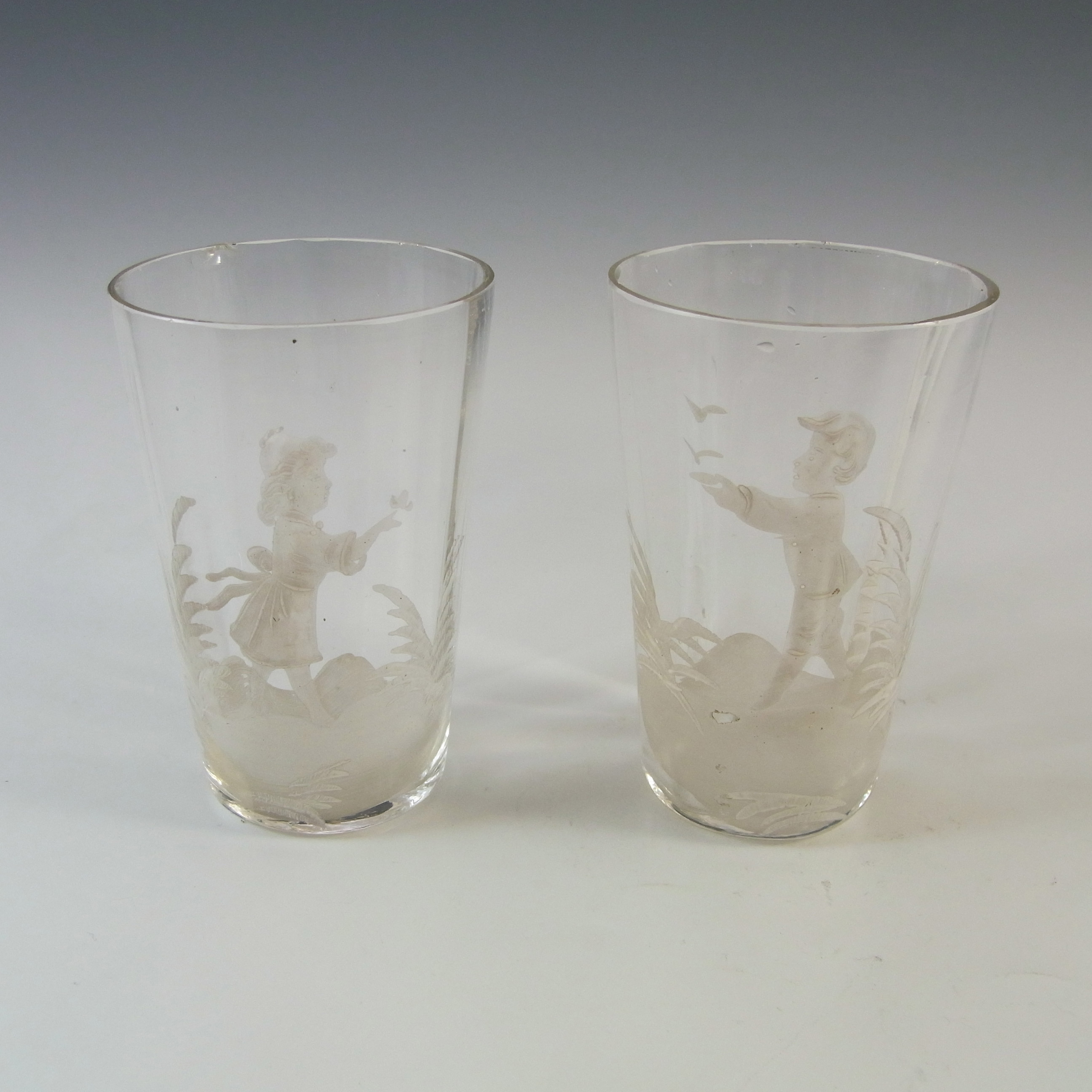 Mary Gregory Victorian Hand Painted / Enamelled Glass Tumblers - Click Image to Close