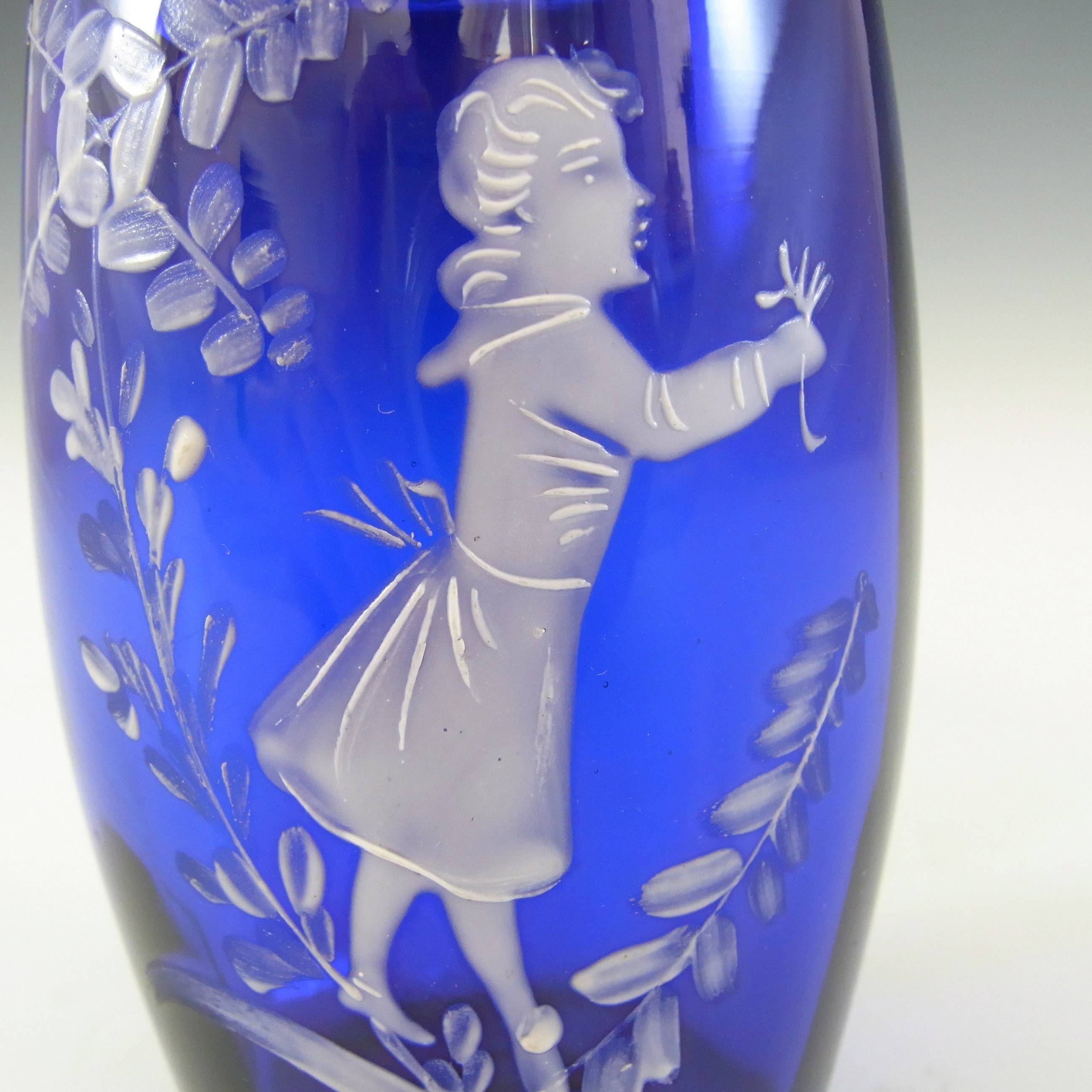 Mary Gregory Victorian Hand Enamelled Blue Glass Vase - Click Image to Close