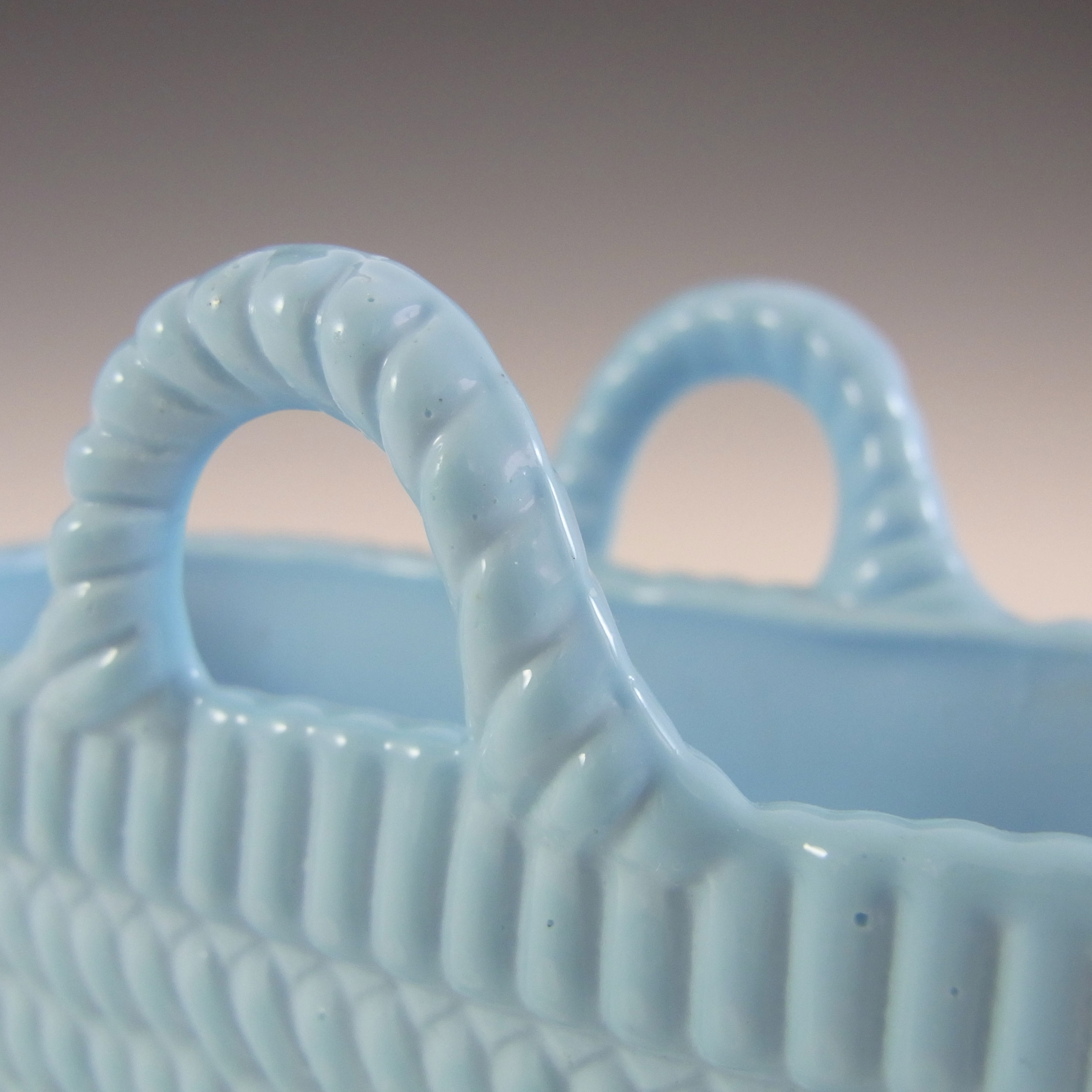 Sowerby #1192 1/2 MARKED Victorian Blue Milk Glass Antique Basket Bowl - Click Image to Close