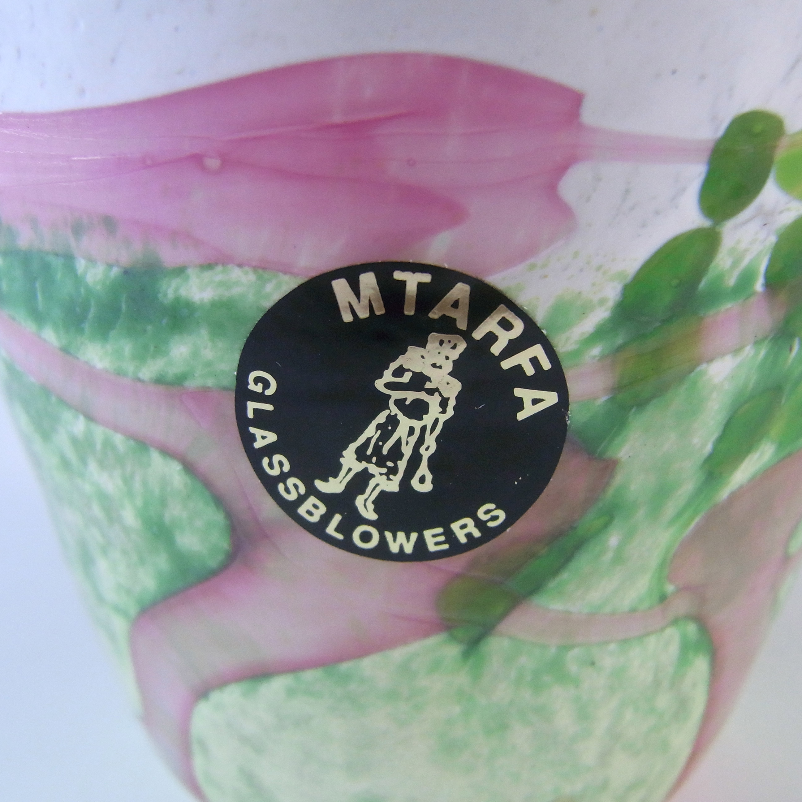SIGNED Mtarfa Maltese Vintage Pink, Green & White Glass Bottle - Click Image to Close