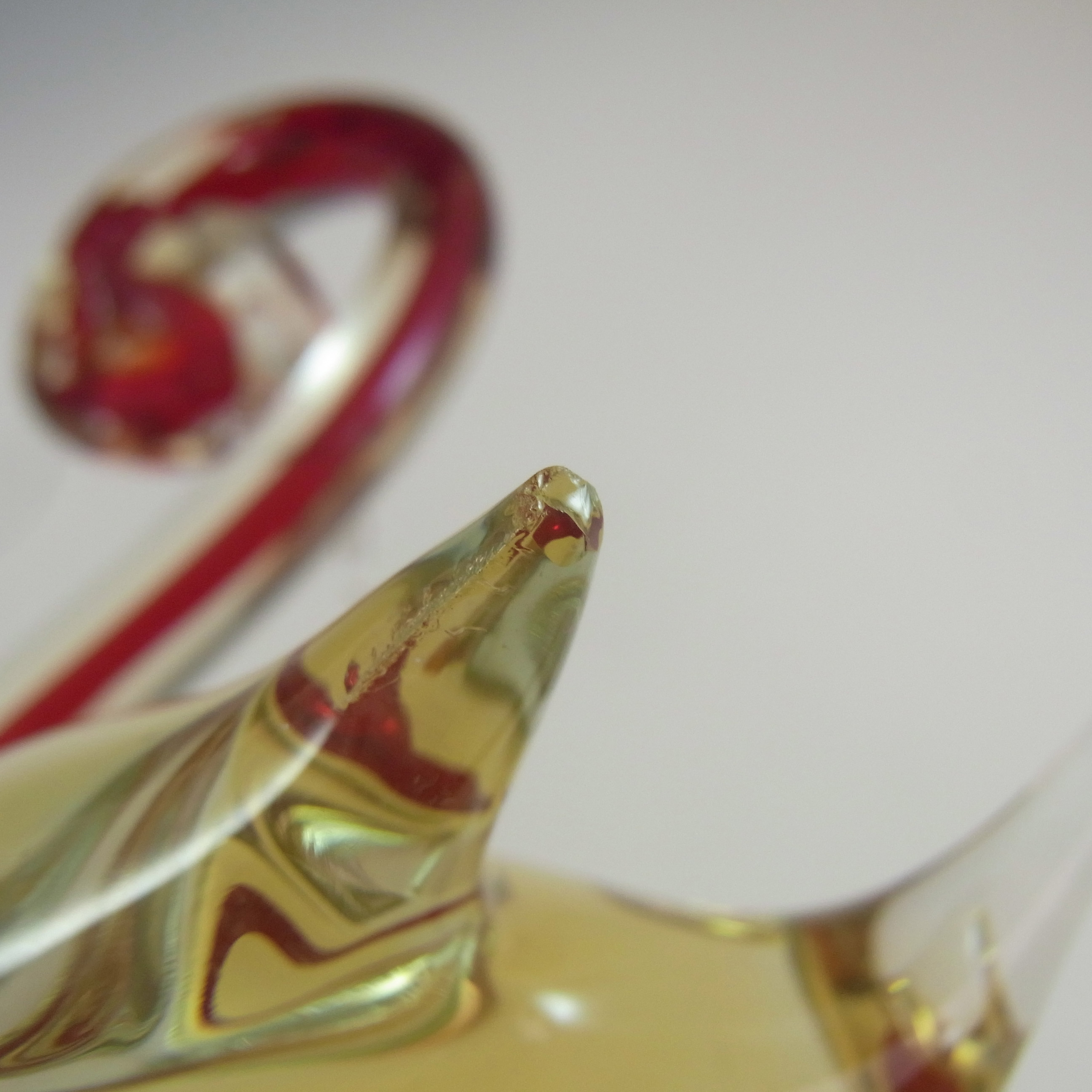Murano Vintage Red & Amber Sommerso Glass Swan Figurine - Click Image to Close