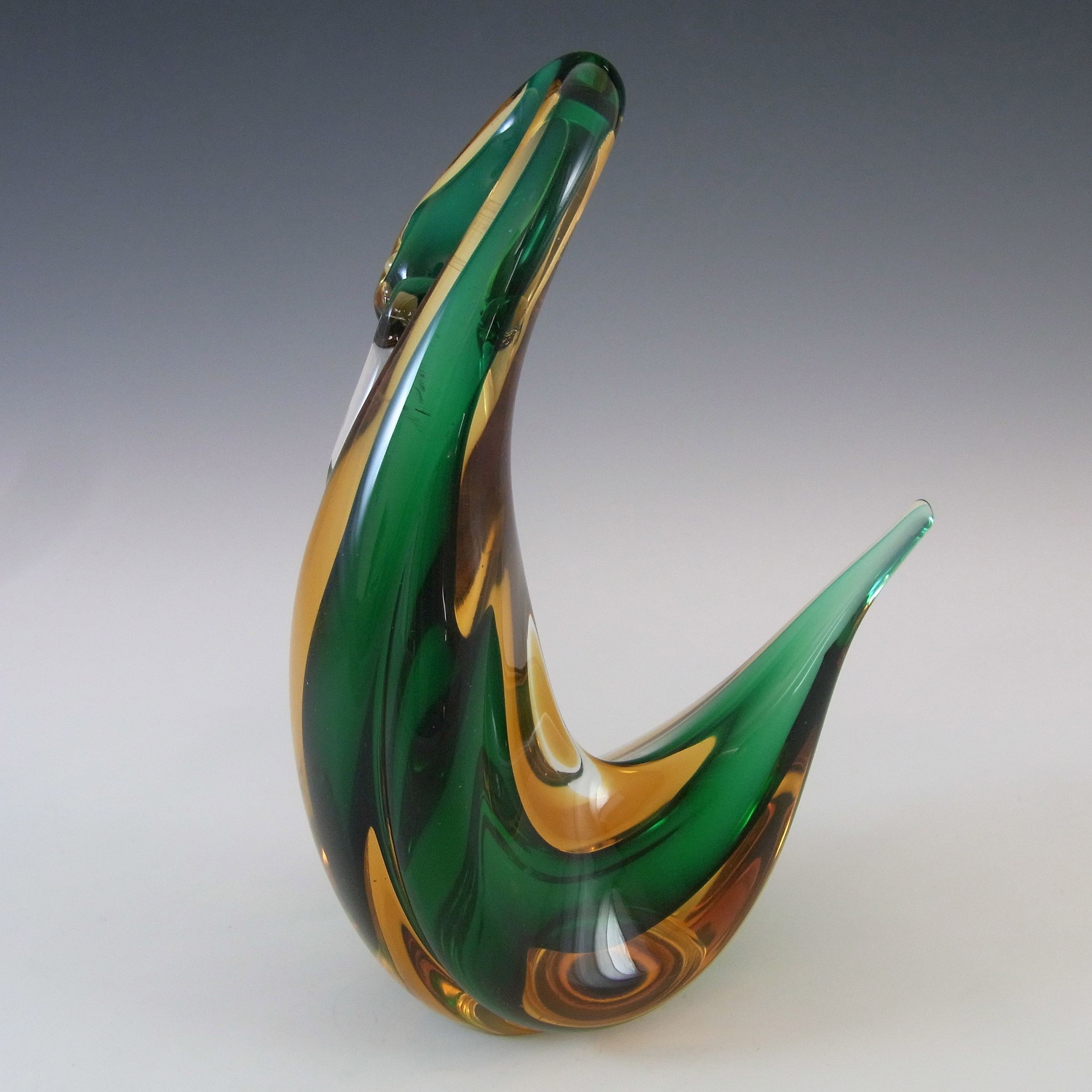 Murano Vintage Green & Amber Sommerso Glass Swan Figurine - Click Image to Close
