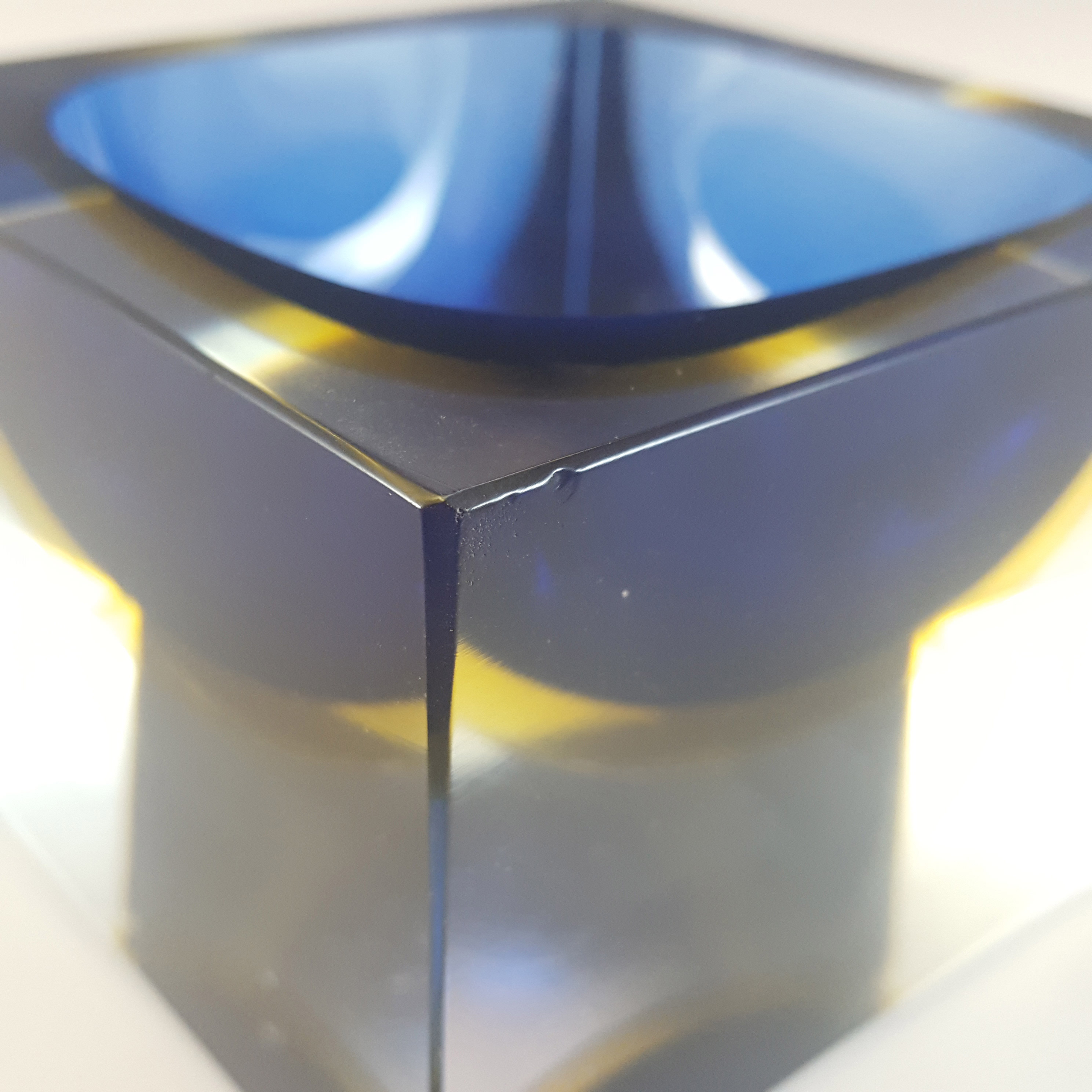 Murano Faceted Blue & Amber Sommerso Glass Block Bowl - Click Image to Close