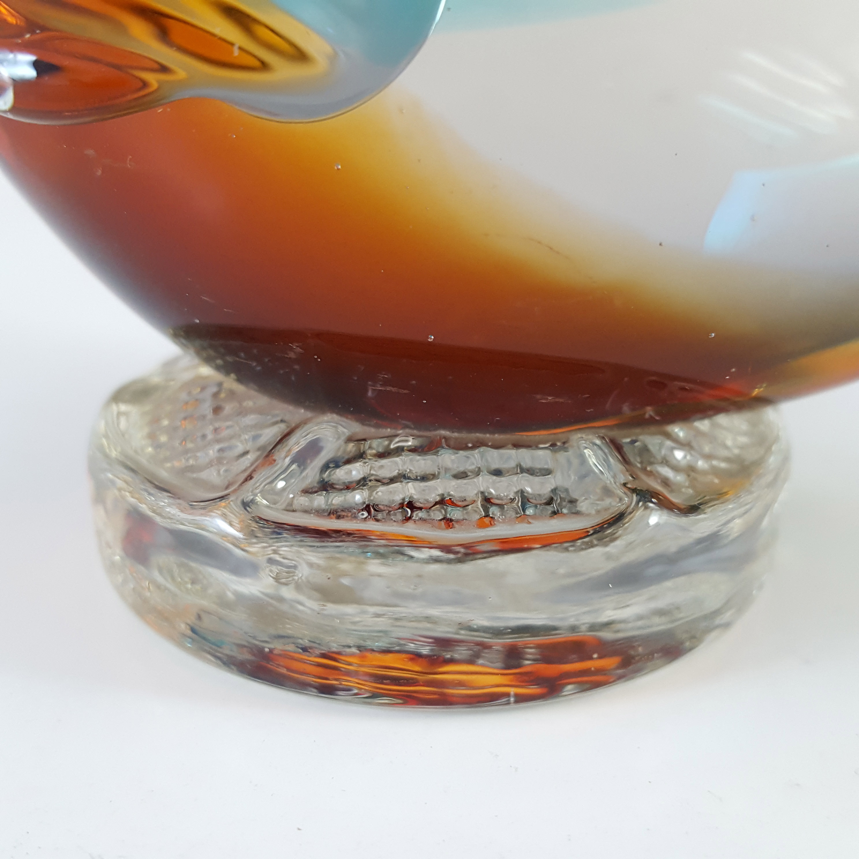 Murano Vintage Amber & Blue Sommerso Glass Fish Sculpture - Click Image to Close