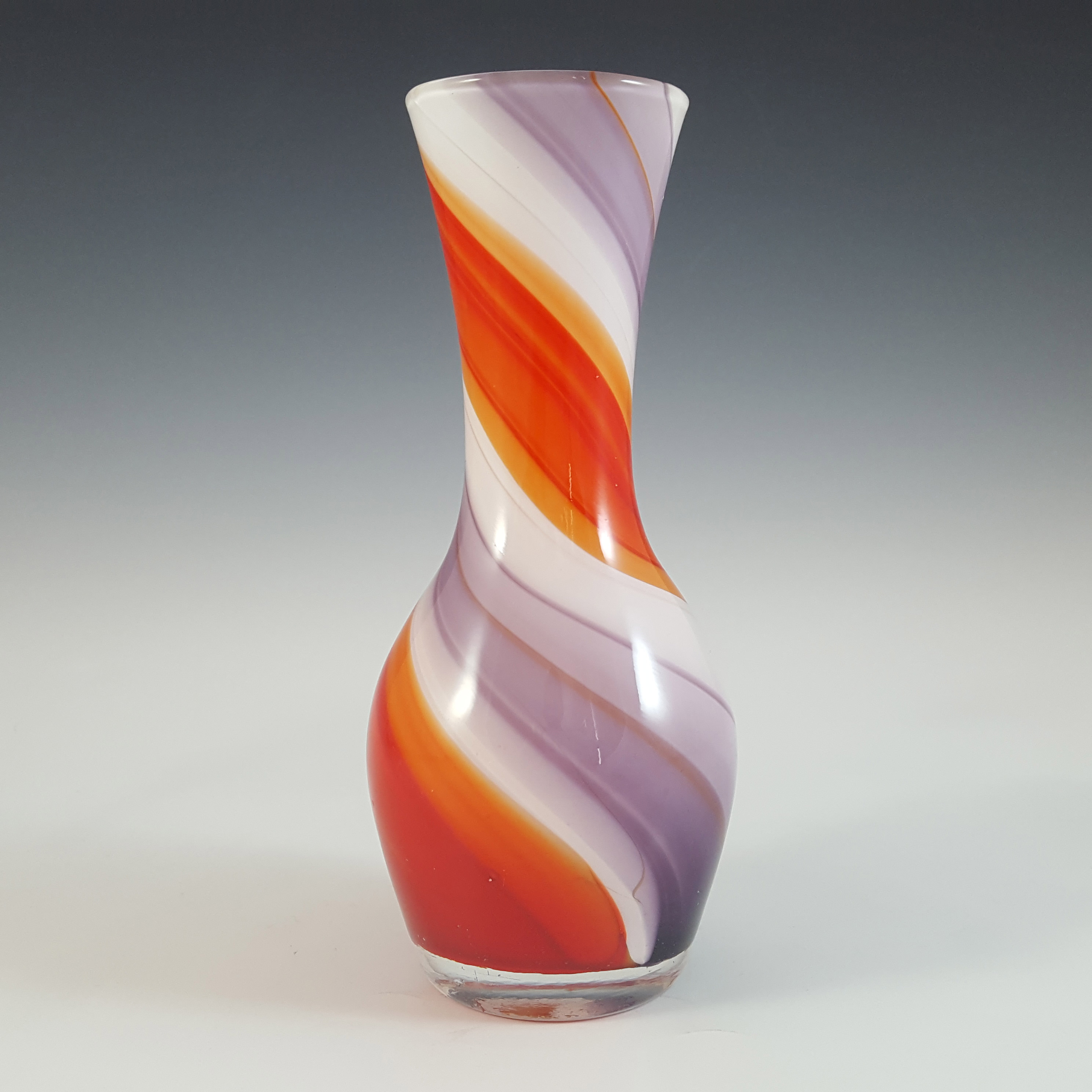 Japanese Red, Purple & White Vintage Glass Striped Vase