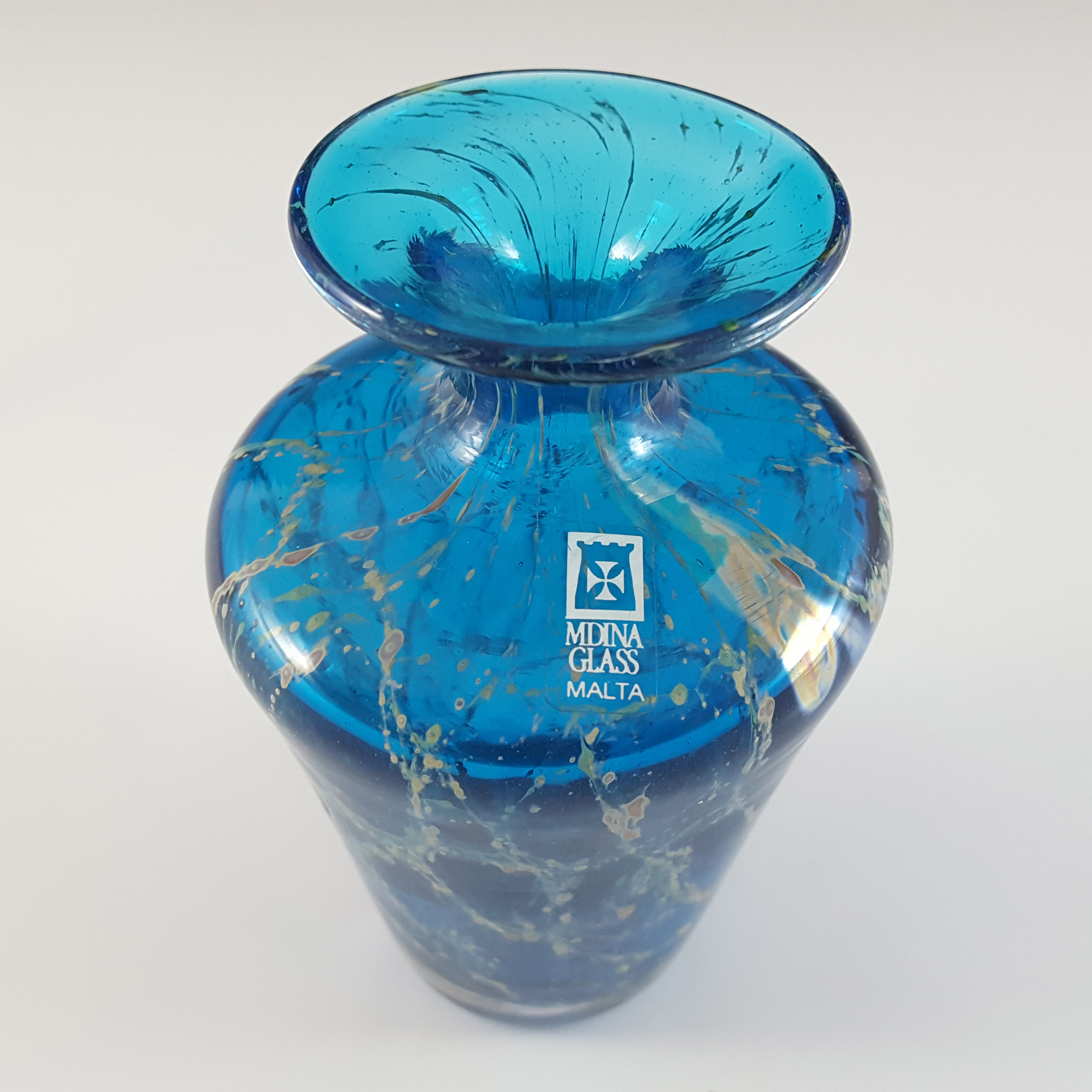 SIGNED & LABELLED Mdina Vintage Blue & Yellow Glass Vase - Click Image to Close