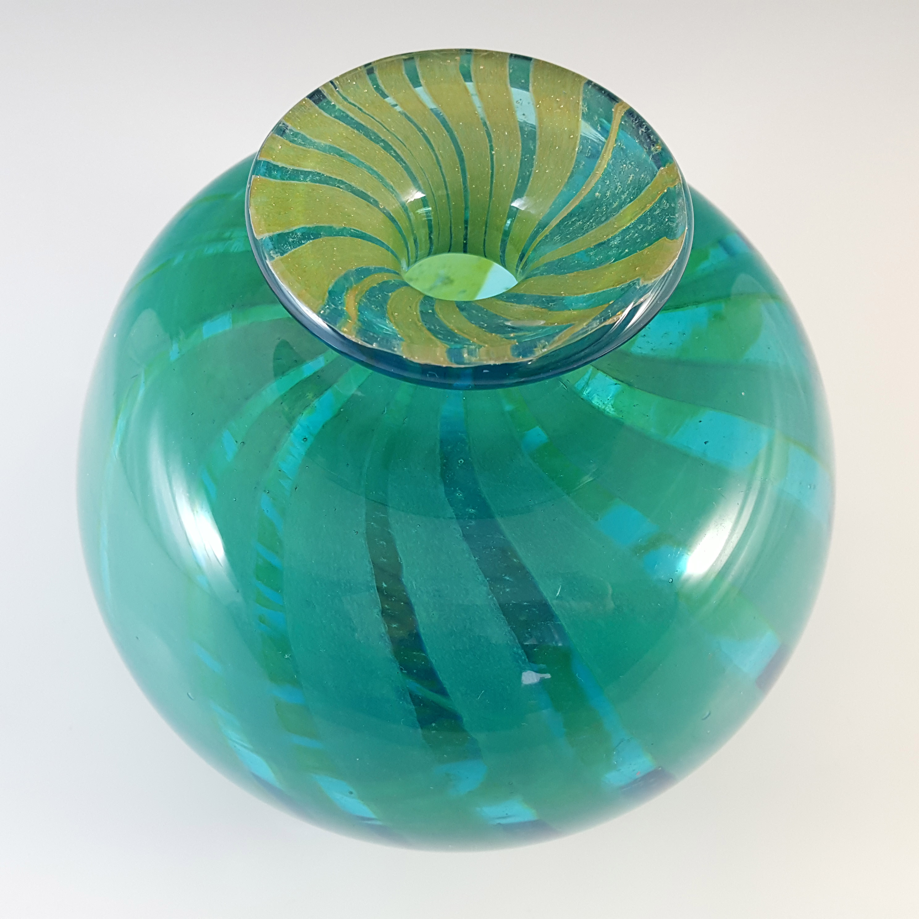 ARTIST SIGNED Mdina Eric Dobson 1975 Glass 'Ming' Globe Vase - Click Image to Close
