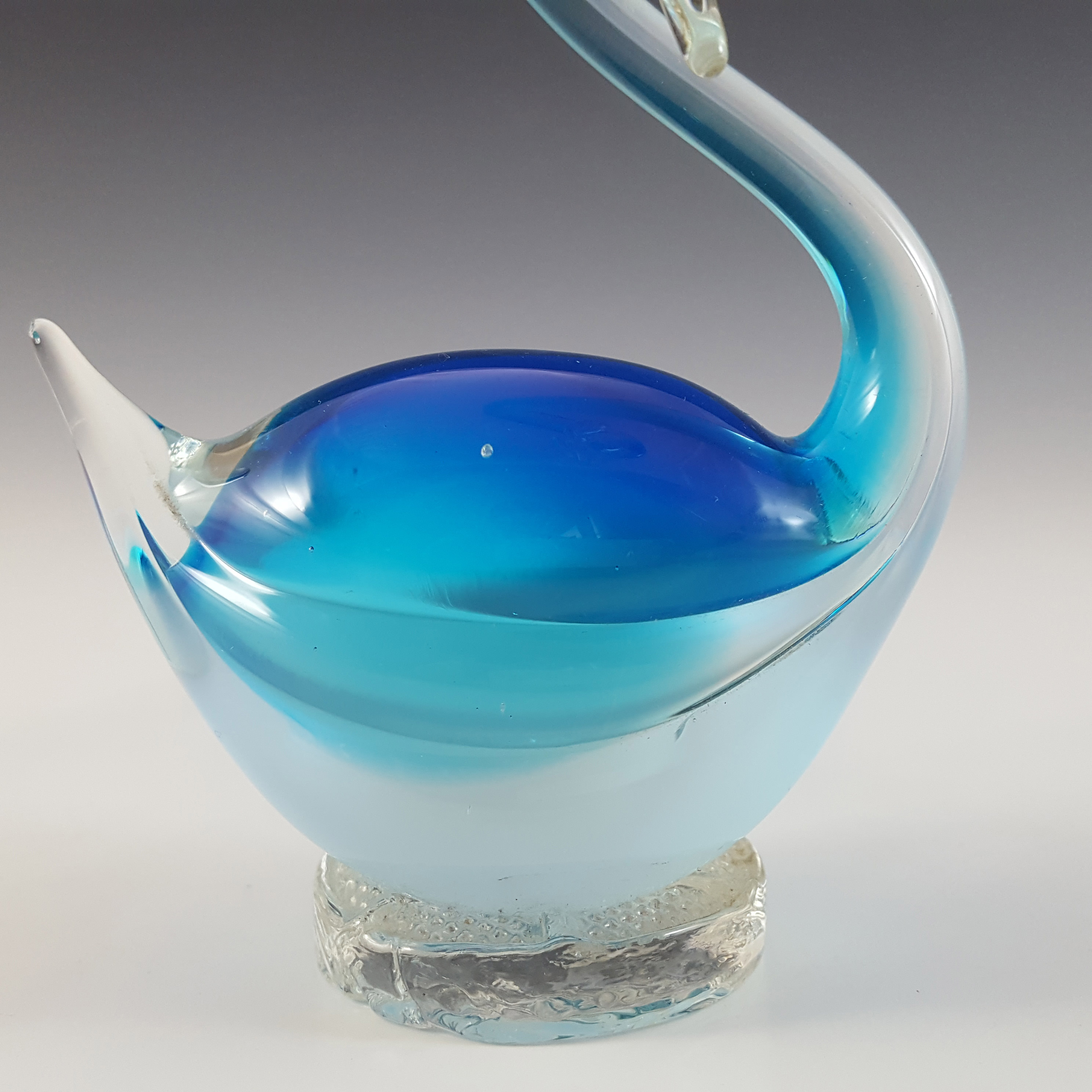 Murano Vintage Blue & Opalescent White Sommerso Glass Swan - Click Image to Close