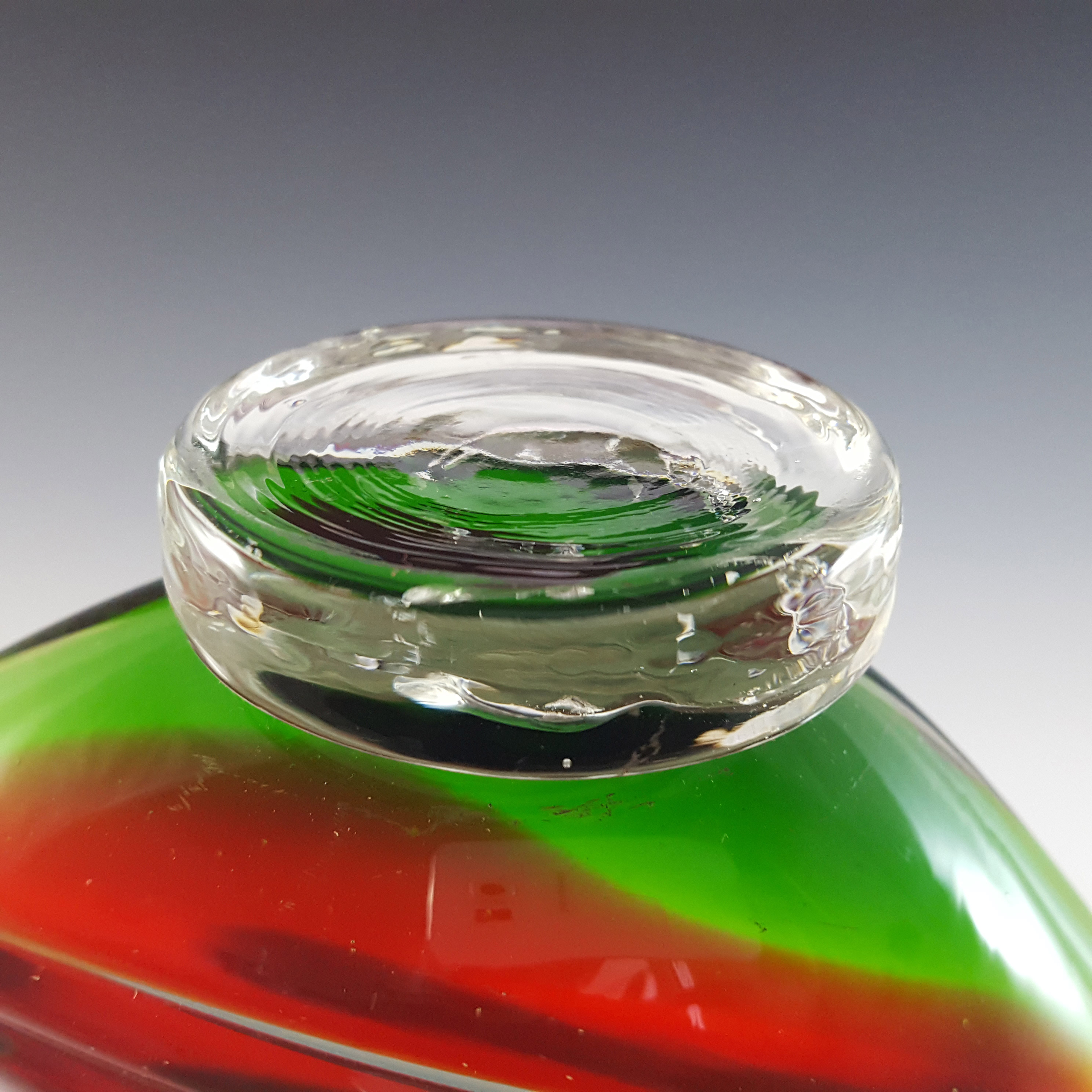 Murano Vintage Green & Red Sommerso Glass Swan Figurine - Click Image to Close