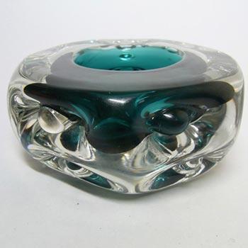 Liskeard 1970's Green Glass 'Knobbly' Candlestick/Bowl