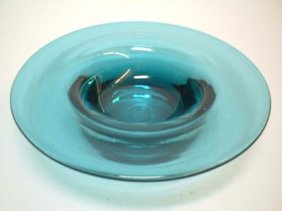 Liskeard 1970 Turquoise Glass Bowl/Candlestick - Marked