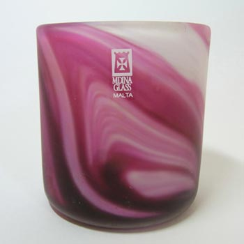 Mdina Maltese Pink/White Glass Vase - Signed & Labelled