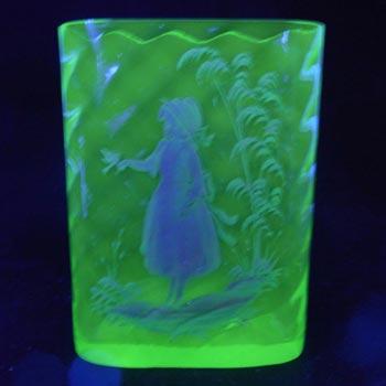 Mary Gregory Bohemian Uranium Glass Hand Enamelled Vase