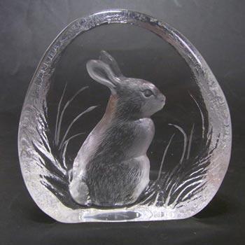 Mats Jonasson #3281 Glass Paperweight Rabbit Sculpture Signed