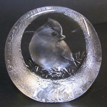 Mats Jonasson #9206 Glass Paperweight Bird Sculpture - Signed