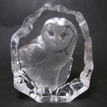 Mats Jonasson #3538 Glass Paperweight Owl Sculpture - Signed