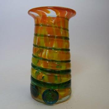 Mdina Maltese Orange/Blue Trailed Glass Vase - Signed