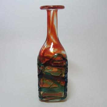 Mdina Maltese Red/Blue Trailed Glass Bottle Vase