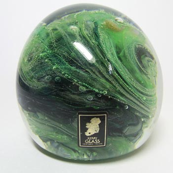 Kerry Glass Green/Black Paperweight/Paper Weight Label