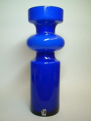Lindshammar / JC 1970's Swedish Blue Hooped Glass Vase