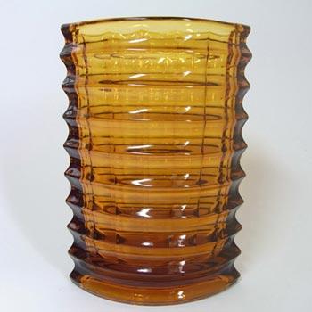 Zabkowice Polish Amber Pleated Glass Vase by Jan Sylwester Drost