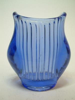Zabkowice Polish Blue Glass 'Harfa' Vase by Eryka Trzewik Drost