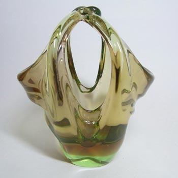 Skrdlovice #5668 Czech Amber & Green Glass Basket Bowl by Jan Broz