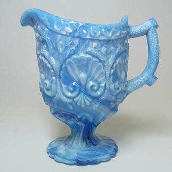 Davidson 1890s Victorian Blue Malachite/Slag Glass Jug