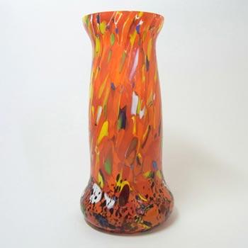 Bohemian Multicoloured Spatter/Splatter Glass Vase 1930
