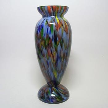 Large 1930's Bohemian Multicoloured Spatter Glass Vase